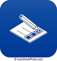 Election paper icon blue vector