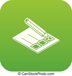 Election paper icon green vector