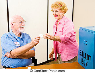 Election - Polling Place - Senior woman gets her I Voted ...