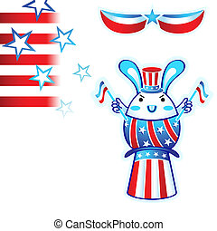 Election rabbit - USA election rabbit with flying stars and...