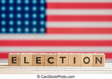 Election sign with the american flag - Election sign on a...