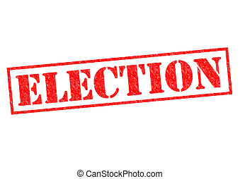 ELECTION red Rubber Stamp over a white background.