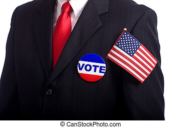Election Symbols - A man wearing a blue business suit and...
