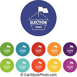 Election today icons set vector color