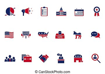 Vector illustration of politics, voting and election icons set on white background.