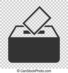 Election voter box icon in flat style. Ballot suggestion vector illustration on isolated background. Election vote business concept.