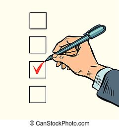 election voting check mark on the ballot