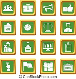 Election voting icons set green