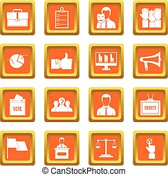 Election voting icons set orange