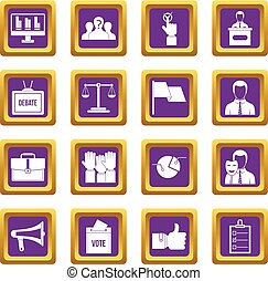 Election voting icons set purple