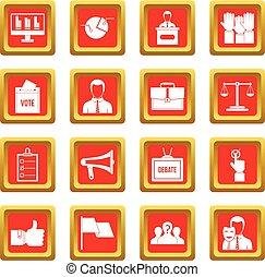 Election voting icons set red