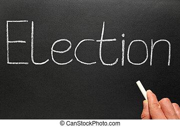 Election, written with white chalk on a blackboard.