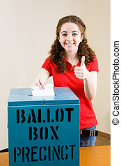 Election - Young Voter Thumbsup - Young first time voter...