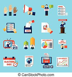 Elections And Voting Flat Icons Set - Elections and voting...