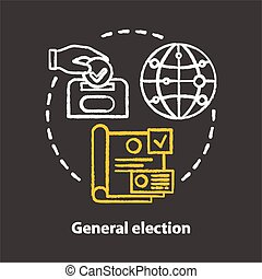 Elections chalk concept icon. General election idea. Voting, choosing from political candidates, parties. Referendum, public choice, decision. Vector isolated chalkboard illustration.