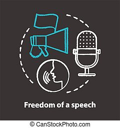 Elections chalk concept icon. Propaganda spreading. Freedom of speech idea. Expressing opinions, thoughts freely. Democracy, public opinion. Vector isolated chalkboard illustration.
