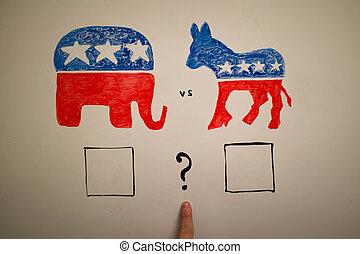 elections., concept., 共和党員, 同時である, ∥対∥, 民主主義者, 政治