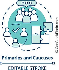 Elections concept icon. Primaries and caucuses voting day idea thin line illustration. Official, governmental election and organised supporter vote. Vector isolated outline drawing. Editable stroke