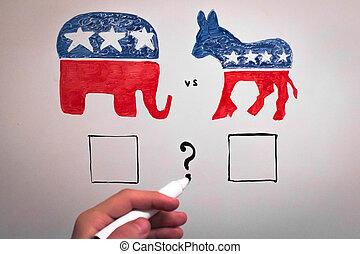 elections., concept., republicanos, concurrente, contra, demócratas, política
