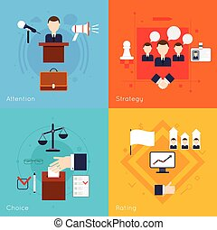 Elections and voting flat set with attention strategy choice rating isolate vector illustration