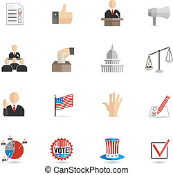 Elections and voting icons set with ballot mark sign hand flag isolated vector illustration