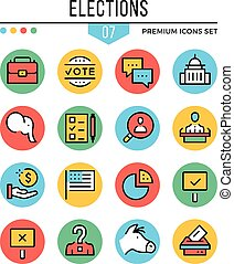 Elections icons. Modern thin line icons set. Premium quality. Outline symbols, graphic elements, concepts, flat line icons. Creative vector illustration