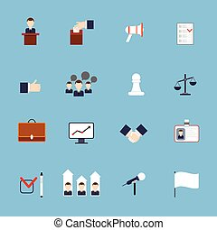 Elections and voting flat icons set with ballot box check signs and flags isolated vector illustration