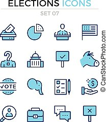 Elections icons. Vector line icons set. Premium quality. Simple thin line design. Modern outline symbols, pictograms