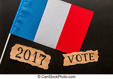 Elections in France.  Vote, 2017, inscription on crumpled piece of paper