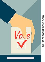Elections. Vote. Hand holds ballot . Social poll. Flat style with a long shadow.