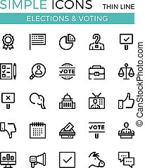 Elections, voting, political parties vector thin line icons set. 32x32 px. Modern line graphic design concepts for website, web design, mobile app, infographics. Pixel perfect vector outline icons set