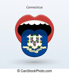 Electoral vote of Connecticut. Abstract mouth. Vector...