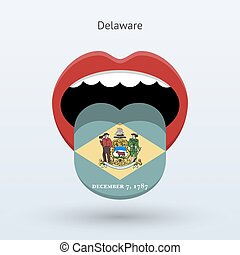 Electoral vote of Delaware. Abstract mouth. Vector...