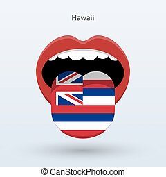 Electoral vote of Hawaii. Abstract mouth. Vector...
