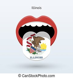 Electoral vote of Illinois. Abstract mouth. Vector...
