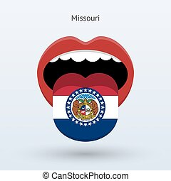 Electoral vote of Missouri. Abstract mouth. Vector...