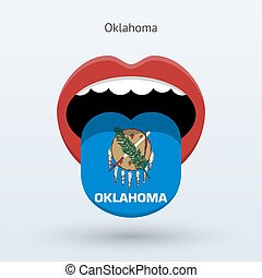 Electoral vote of Oklahoma. Abstract mouth. Vector...