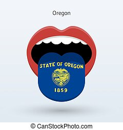 Electoral vote of Oregon. Abstract mouth. Vector...