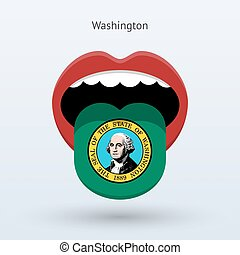 Electoral vote of Washington. Abstract mouth. Vector...