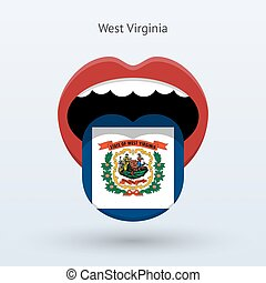 Electoral vote of West Virginia. Abstract mouth. Vector...