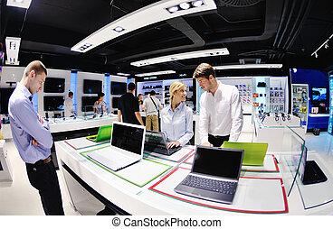 electrónica, comprar, consumidor, tienda, gente
