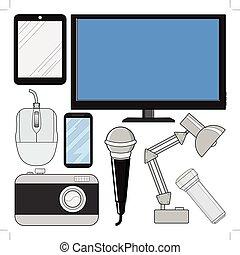 electrónica, conjunto, consumidor