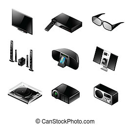 electrónica, icono, conjunto, -, televisión, y, audio