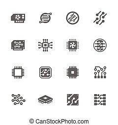 electrónica, iconos, simple