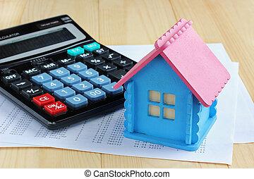 electrónico, calculadora, disposición, de, el, casa, y, hojas papel, con, el, números