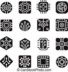 electrónico, chips, circuito, iconos
