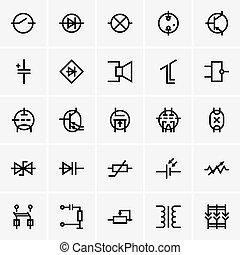 electrónico, componentes, iconos
