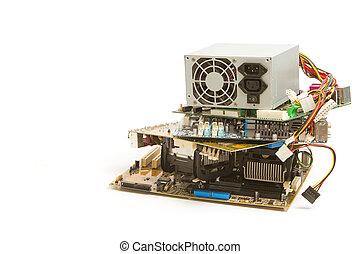 electrónico, desperdicio, computadora despide