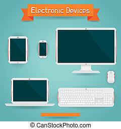 electrónico, dispositivos, -, computadora, computador...