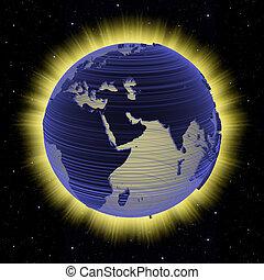electrónico, energía, tierra, resplandores, brillante, aura, en, espacio